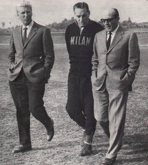 Gennaio 1964, Felice Riva, Luis Carniglia e Mino Spadacini passeggiano a Milanello