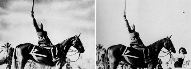 Mussolini brandisce la Spada dell'Islam e nel fotomontaggio fa sparire l'uomo che gli tiene fermo il cavallo