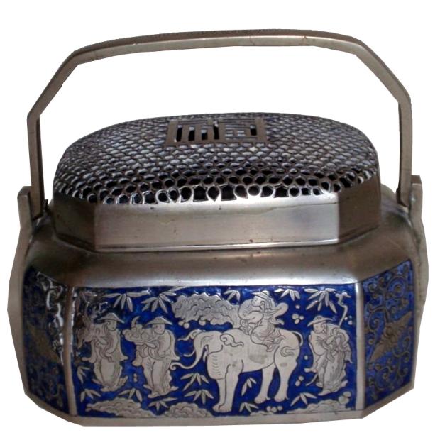 Gabbia per grilli in argento e smalto cinese