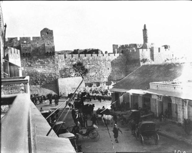 Jerusalem (El Quds esh Sherif, Yerushalayim) (December 1899)David's Tower [City Walls, near Jaffa Gate. David's Tower - part of Herod the Great's Palace. General view, bazaar in foreground]