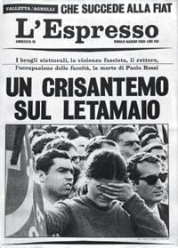 """La copertina dell'Espresso contenente l'articolo di Eugenio Scalfari """"Un crisantemo sul letamaio"""""""