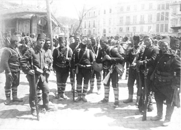 Istanbul (Constantinople) (April 1909) Return of the Chasseurs after Victory [Turkish soldiers in Square following the April revolution by the Young Turks (Committee of Union and Progress) the deposition of Sultan Abdulhamid II and the installation of a new Sultan - Mehmed V who was little more than a 'puppet ' leader for the new regime]