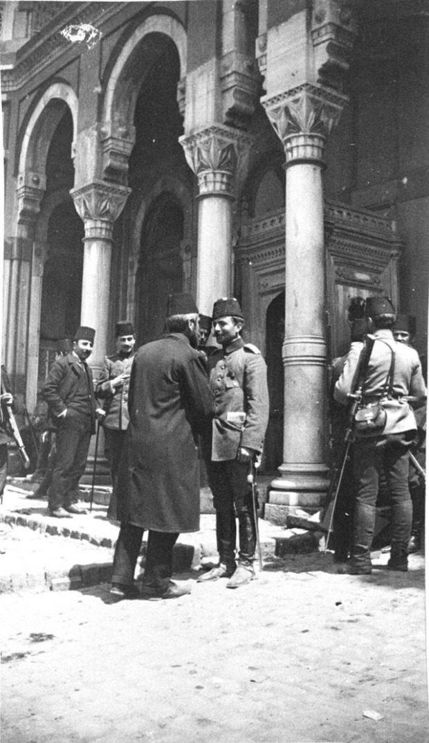 Istanbul (Constantinople) (April 1909) Enver Bey and his father [Major Enver Bey Pasha - CUP (Young Turk) leader with his father at Taxim barracks - previously captured from the soldiers of Sultan Abdulhamid II during the April revolution by the Young Turks which resulted in the deposition of Sultan Abdulhamid II and the installation of a new Sultan - Mehmed V, who was little more than a 'puppet' leader for the new regime]