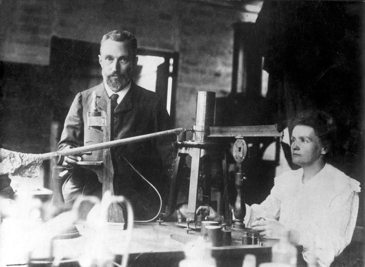 Maria Skłodowska Curie con il marito Pierre