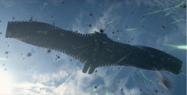 """L'astronave del cattivone di turno nel film """"I Guardiani della Galassia"""""""