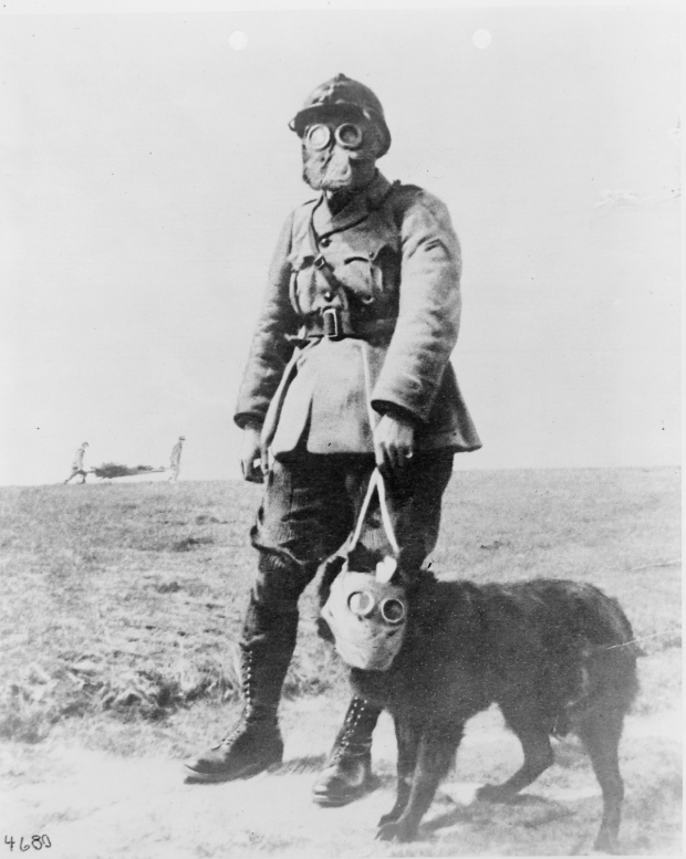 A French sergeant and a dog, both wearing gas masks, on their way to the front line in World War I, France, circa 1915. (Photo by PhotoQuest/Getty Images)