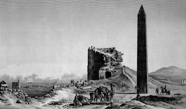 Description_de_l'Egypte,_Antiquites_V,_Plate_32,_Cleopatra's_needles_and_the_Tower_of_the_Romans,_drawn_c.1798,_published_in_the_Panckoucke_edition_of_1821-9