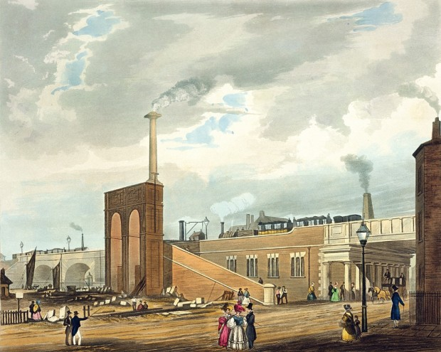 Entrance_into_Manchester_across_Water_Street,_from_Bury's_Liverpool_and_Manchester_Railway,_1831_-_artfinder_267571