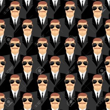 Bodyguard. Seamless pattern of men in glasses. Secret agents. Se