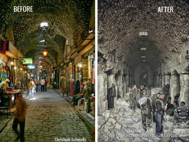 Aleppo souk prima e dopo